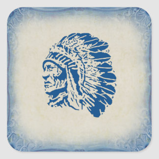 Blue Silhouette American Indian Chief Sticker