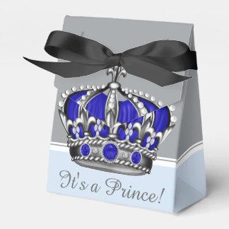 Blue Silver Crown Prince Boy Baby Shower Wedding Favour Box