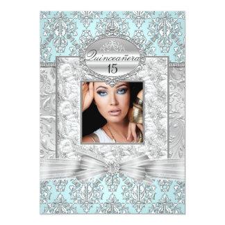 Blue & Silver Damask Quinceanera Announcements