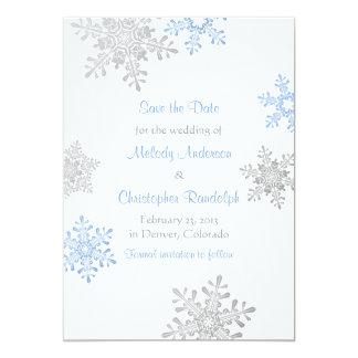 Blue Silver Snowflake Winter Wedding Save the Date 13 Cm X 18 Cm Invitation Card
