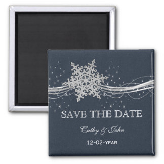 Blue Silver Snowflakes Winter save the Date Fridge Magnet