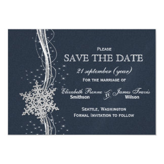 Blue Silver Snowflakes Winter  save the date Magnetic Invitations