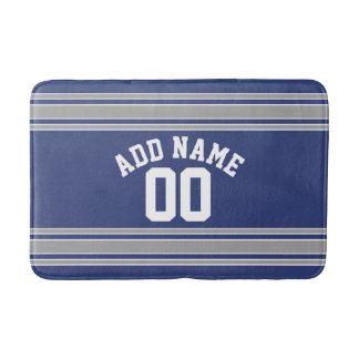 Blue Silver Sports Jersey with Your Name Number Bath Mat
