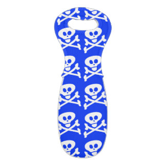 Blue Skull and Crossbones Wine Tote