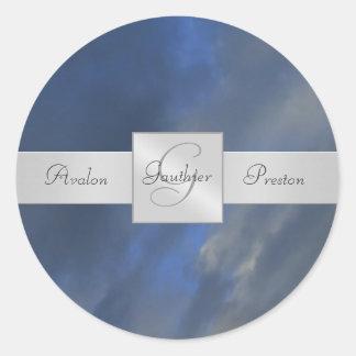Blue Sky Monogram Wedding Sticker