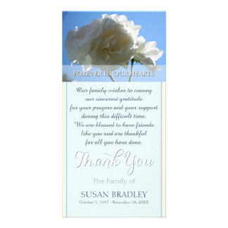 Blue Sky White Roses Sympathy Thank You Card Photo Greeting Card