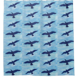 Blue Sky with Birds Flying Shower Curtain