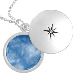 Blue Sky with Clouds Locket Necklace