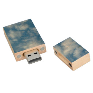 Blue Sky with Clouds Photo Wood USB Flash Drive