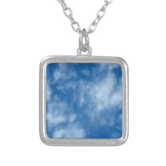 Blue Sky with Clouds Square Pendant Necklace