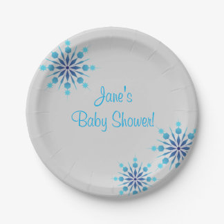 Blue Snowflake baby Shower Paper Plates