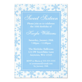 Blue Snowflake Border Winter Wonderland Sweet 16 13 Cm X 18 Cm Invitation Card