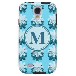 Blue Snowflake Pattern Monogram Galaxy S4 Case