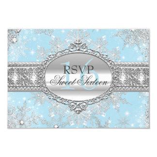 Blue Snowflake Winter Wonderland Sweet 16 RSVP Card