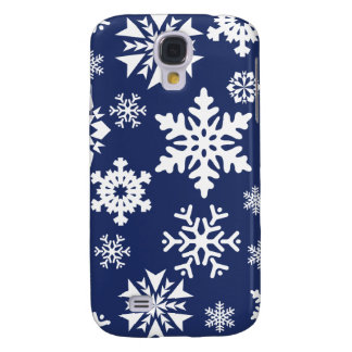 Blue Snowflakes Winter Christmas Holiday Pattern Galaxy S4 Case