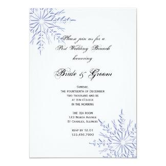 Blue Snowflakes Winter Post Wedding Brunch Invite