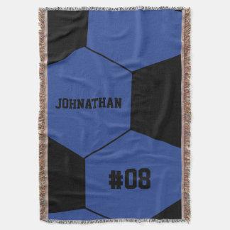 Blue Soccer Ball Monogram Throw Blanket