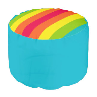 Blue Solid & Multi Striped Round Pouf Cushion/Seat