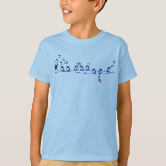 Blue Song Birds in a Row T-Shirt
