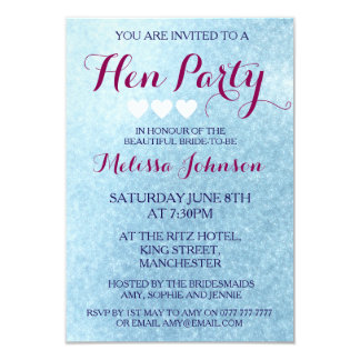 Blue Sparkle Hen Party Invitation