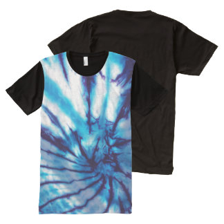 Blue Spiral Tie Dye All-Over Print T-Shirt