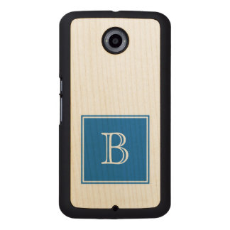 Blue Square Monogram Wood Phone Case
