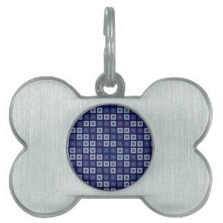 Blue Squares Pet Tags