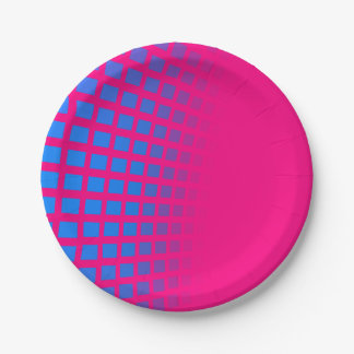 Blue Squres and Hot Pink Paperplates Paper Plate
