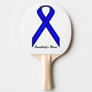 Blue Standard Ribbon by Kenneth Yoncich Ping Pong Paddle