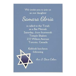 Blue Star Bat Mitzvah Invitation