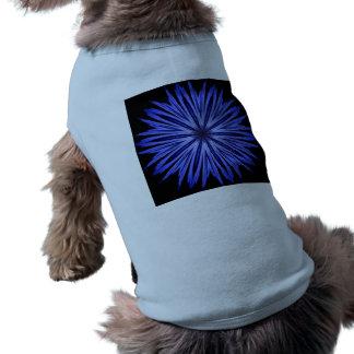 Blue Star Burst on Black Kaleidoscope Shirt