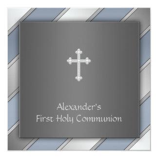 Blue Stripe Boys First Communion Card