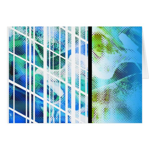 Blue Stripe Lines Abstract Blank Card