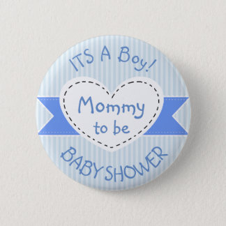 Blue Striped Baby Shower Button Mom to Be Button