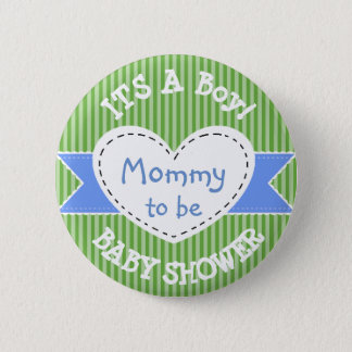Blue Striped Baby Shower Button Mum to Be Button