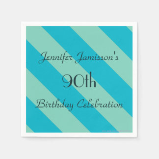 Blue Striped Paper Napkins 90th Birthday Party