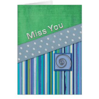 Blue Stripes and Green MissYou Greeting Card