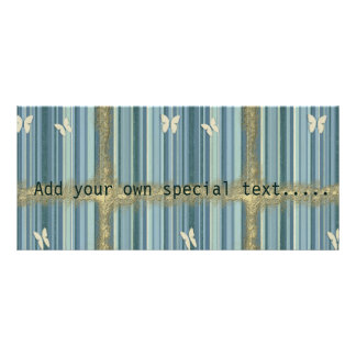 blue stripes,gold,trendy,butterfly,pattern,girly, rack card