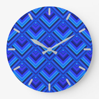 Blue stripes scale pattern large clock