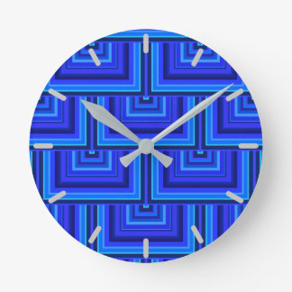 Blue stripes square scales pattern round clock