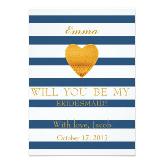 Blue Stripes Will You Be My Bridesmaid Invitation