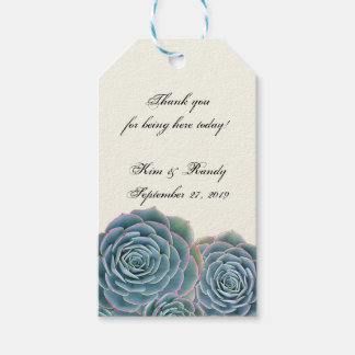 Blue Succulent Tie On Wedding Favor