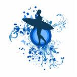 Blue Surfer Silhouette Photo Cutouts