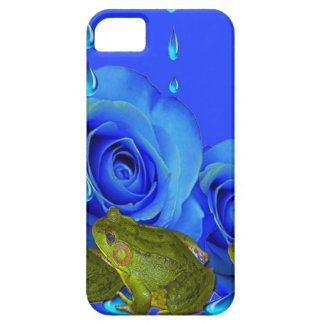 BLUE  SURREAL DRIPPING ROSES & GREEN FROGS ART iPhone 5 COVER