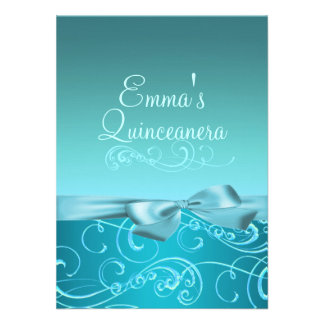 Blue Swirl Bow Image Quinceanera Birthday Invite