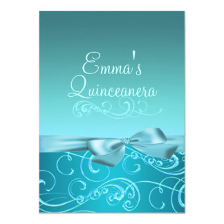 Blue Swirl & Bow Image Quinceanera Birthday Invite