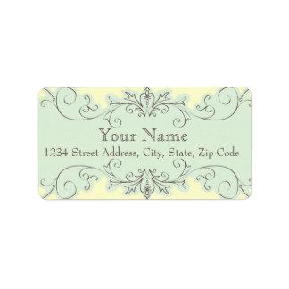 Blue Swirl Wedding RSVP Envelope Address Label