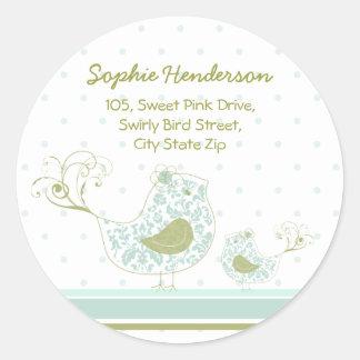 Blue Swirly Mom & Baby Bird Address Label Sticker