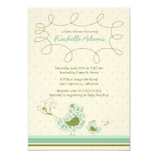 Blue Swirly Mom & Baby Bird Baby Shower Invitation Custom Invitations