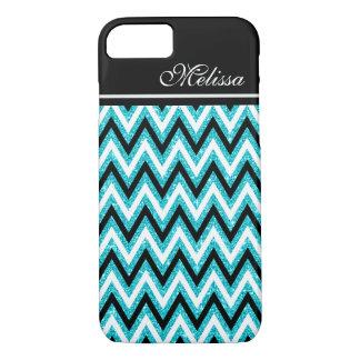 Blue Teal Glitter Glam Black White Chevron Stripe iPhone 8/7 Case